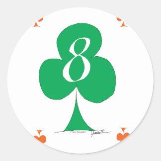 Pegatina Redonda Irlandés afortunado 8 de los clubs, fernandes tony