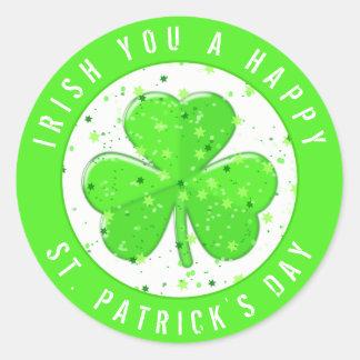 Pegatina Redonda Irlandés usted trébol del verde del día de un St