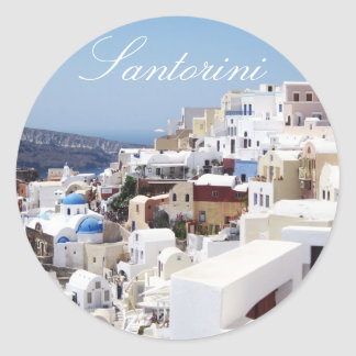 Pegatina Redonda Isla Grecia de Santorini