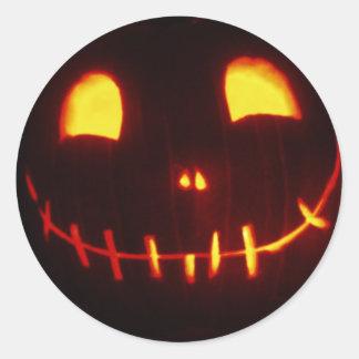 Pegatina Redonda Jack-o-Linterna sonriente de Halloween