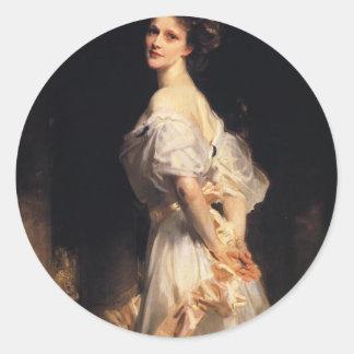 Pegatina Redonda John Singer Sargent - Nancy Astor - bella arte