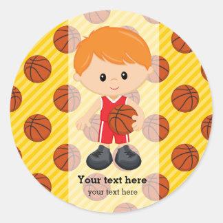 Pegatina Redonda Jugador de básquet
