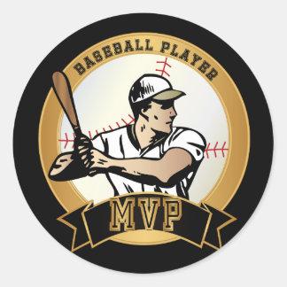 Pegatina Redonda Jugador de béisbol retro