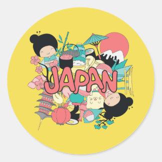 Pegatina Redonda ¡Kawaii Japón lindo!