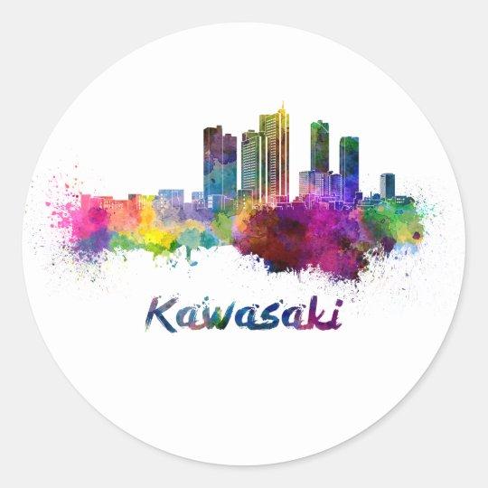 Pegatina Redonda Kawasaki skyline in watercolor