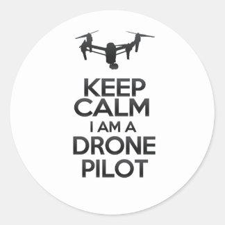 Pegatina Redonda Keep Calm I Am Drone Pilot