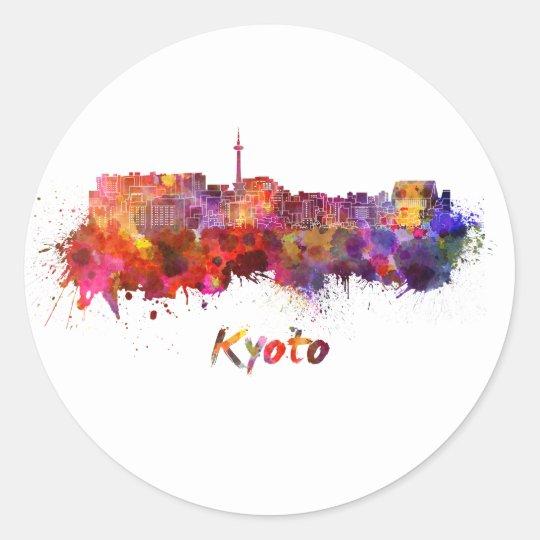 Pegatina Redonda Kyoto skyline in watercolor