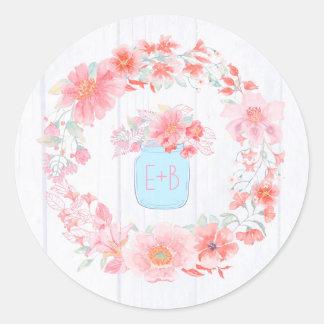 Pegatina Redonda La acuarela rosada florece el tarro de albañil