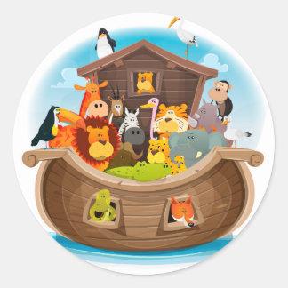 Pegatina Redonda La arca de Noah con los animales de la selva
