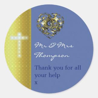 Pegatina Redonda La cruz del boda del azul y del oro le agradece