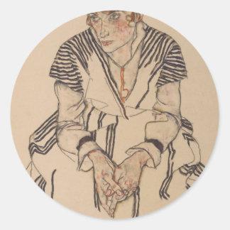 Pegatina Redonda La cuñada del artista de Egon Schiele-