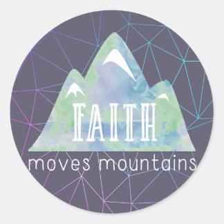 Pegatina Redonda La fe mueve ángulos de la púrpura de las montañas