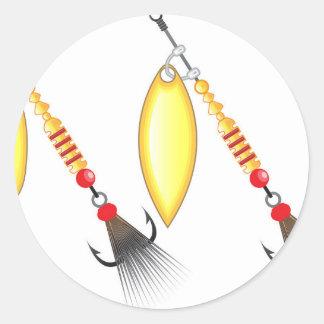 Pegatina Redonda La hoja de oro y la forma oval diseñan la pesca