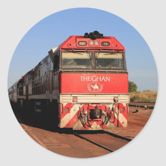 Pegatina Redonda La locomotora del tren de Ghan, Darwin