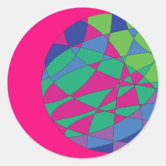 Pegatina Redonda La magenta redonda de los pegatinas coloridos