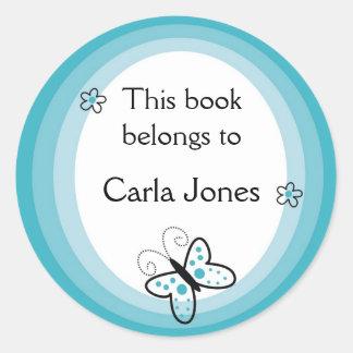 Pegatina Redonda La mariposa Bookplates-Este libro pertenece a las