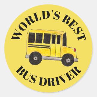 Pegatina Redonda La mejor educación del autobús escolar del