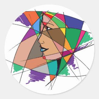 Pegatina Redonda La mujer abstracta de Stanley Mathis