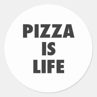 Pegatina Redonda La pizza divertida es impresión de los alimentos