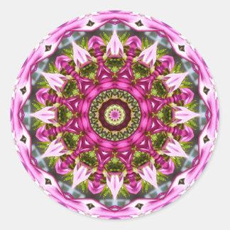 Pegatina Redonda La primavera florece, pica, Flor-Mandala,