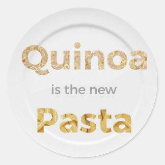 Pegatina Redonda La quinoa es las nuevas pastas