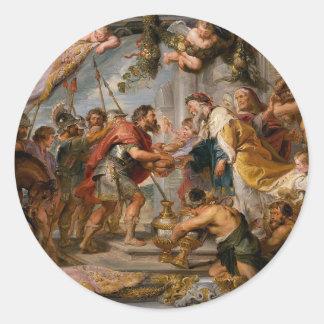 Pegatina Redonda La reunión de Abraham y del arte de Melchizedek
