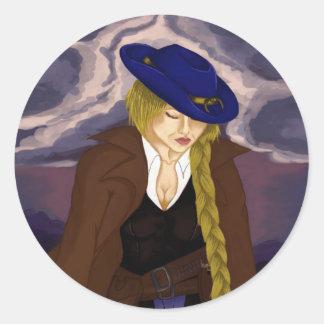 Pegatina Redonda La señora Gunslinger