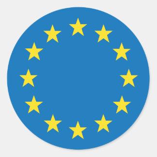 Pegatina Redonda La UE de la unión europea señala por medio de una