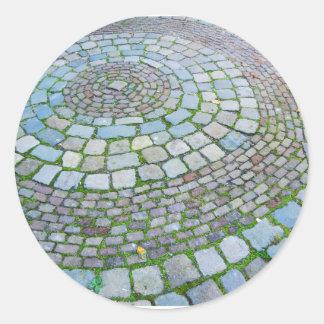 Pegatina Redonda Ladrillos holandeses del espiral de la fotografía