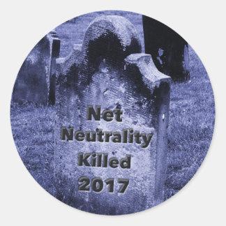 Pegatina Redonda Lápida mortuaria neta de la neutralidad del RASGÓN