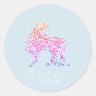 Pegatina Redonda Las estrellas del caballo de Ombre del rosa color