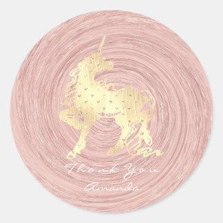 Pegatina Redonda Las estrellas del caballo del unicornio del oro