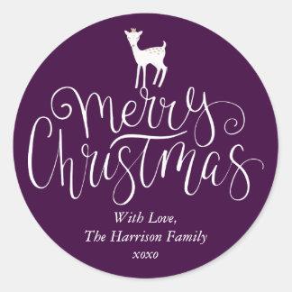 Pegatina Redonda Las Felices Navidad de los ciervos caprichosos