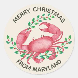 Pegatina Redonda Las Felices Navidad del cangrejo de Maryland