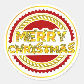 """Pegatina Redonda """"las FELICES NAVIDAD"""" diseñan Felices Navidad de"""