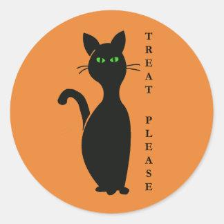 Pegatina Redonda Las invitaciones satisfacen el gato