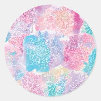 Pegatina Redonda Las mandalas de la acuarela coloridas salpican
