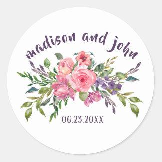 Pegatina Redonda Lavanda de la novia y del novio y ramo floral