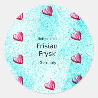 Pegatina Redonda Lengua del Frisian (Alemania y Países Bajos)