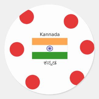 Pegatina Redonda Lengua del Kannada y diseño indio de la bandera