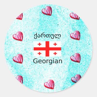 Pegatina Redonda Lengua y diseño georgianos de la bandera