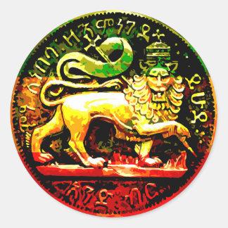 Pegatina Redonda León antiguo de Rasta del negro rojo del verde del
