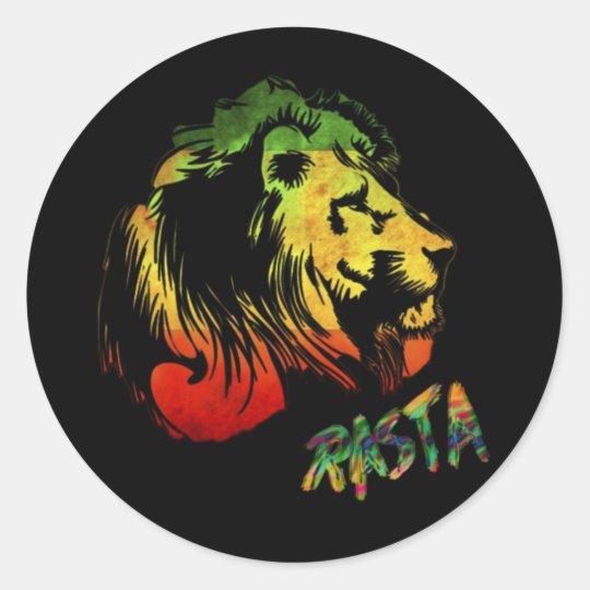Pegatina Redonda león rasta