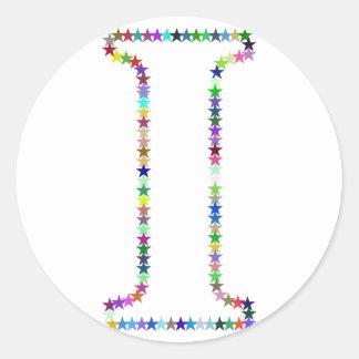 Pegatina Redonda Letra I de la estrella del arco iris