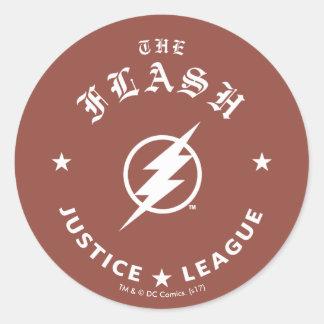 Pegatina Redonda Liga de justicia el | el emblema retro de destello