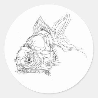 Pegatina Redonda lil a pescado