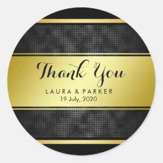 Pegatina Redonda Limpie el oro negro rayado le agradecen boda