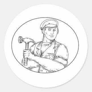 Pegatina Redonda Línea del martillo del carpintero del vintage mono
