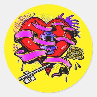 Pegatina Redonda Llave a mi arte del tatuaje del corazón
