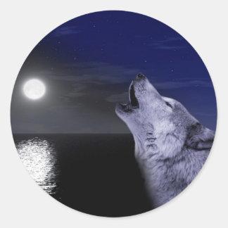 Pegatina Redonda Lobo de mar - lobo de la luna - Luna Llena - lobo